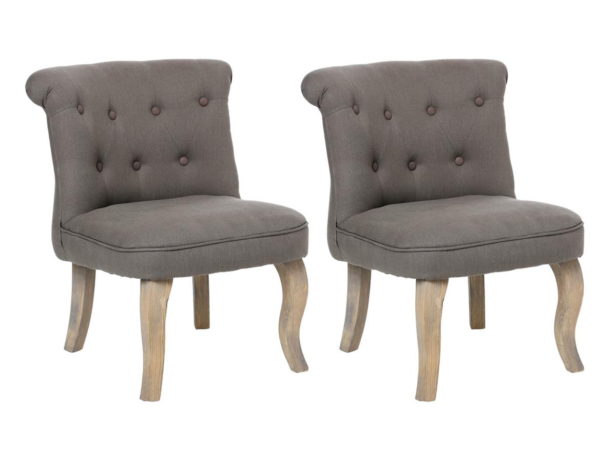 Lot de 2 fauteuils effet lin Calixte Charme