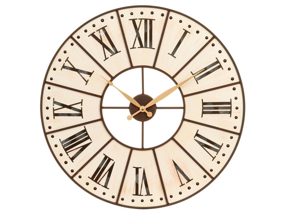Horloge en bois et cadran métal noir - Atmosphera