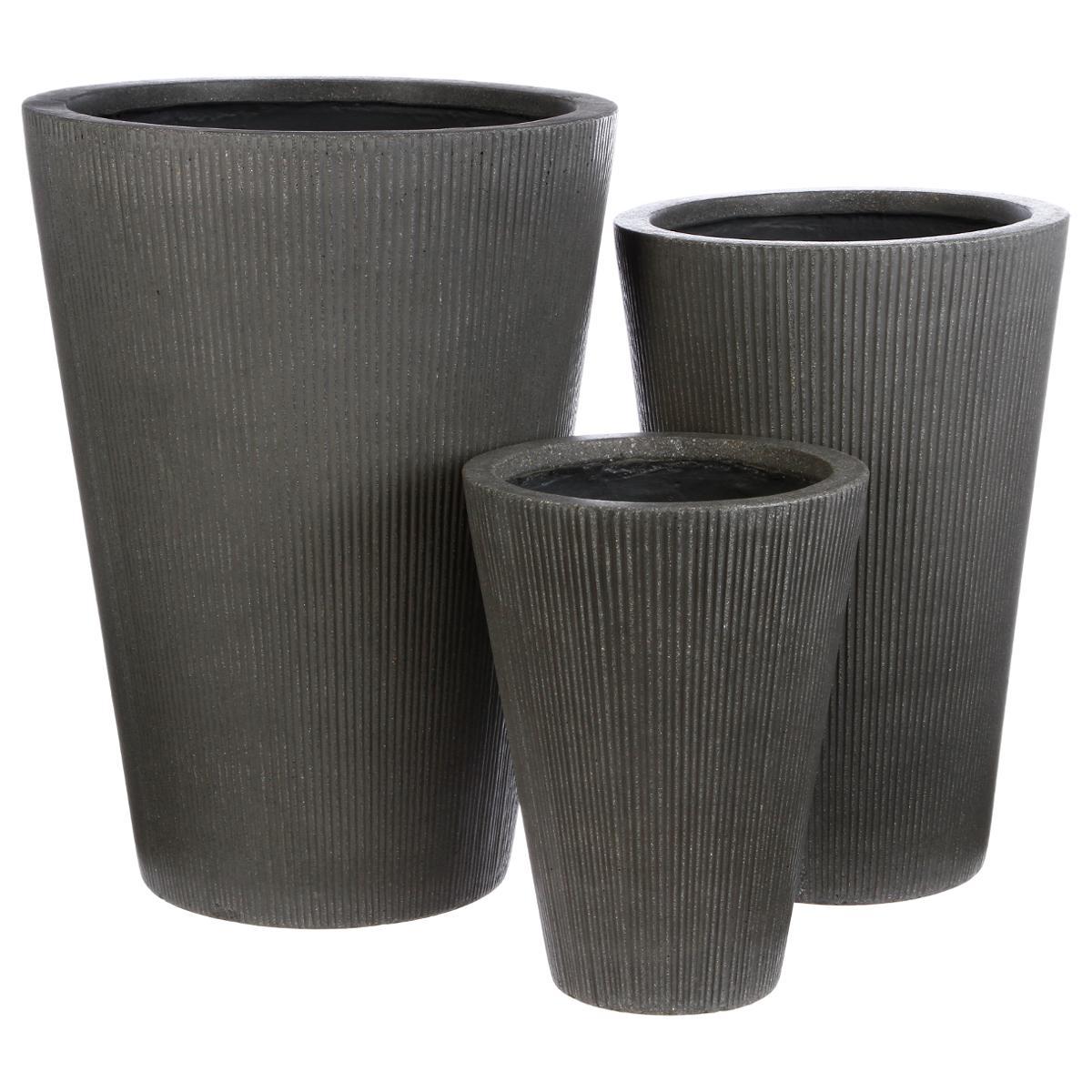 Lot de 3 pots efffet ciment strié Stonia