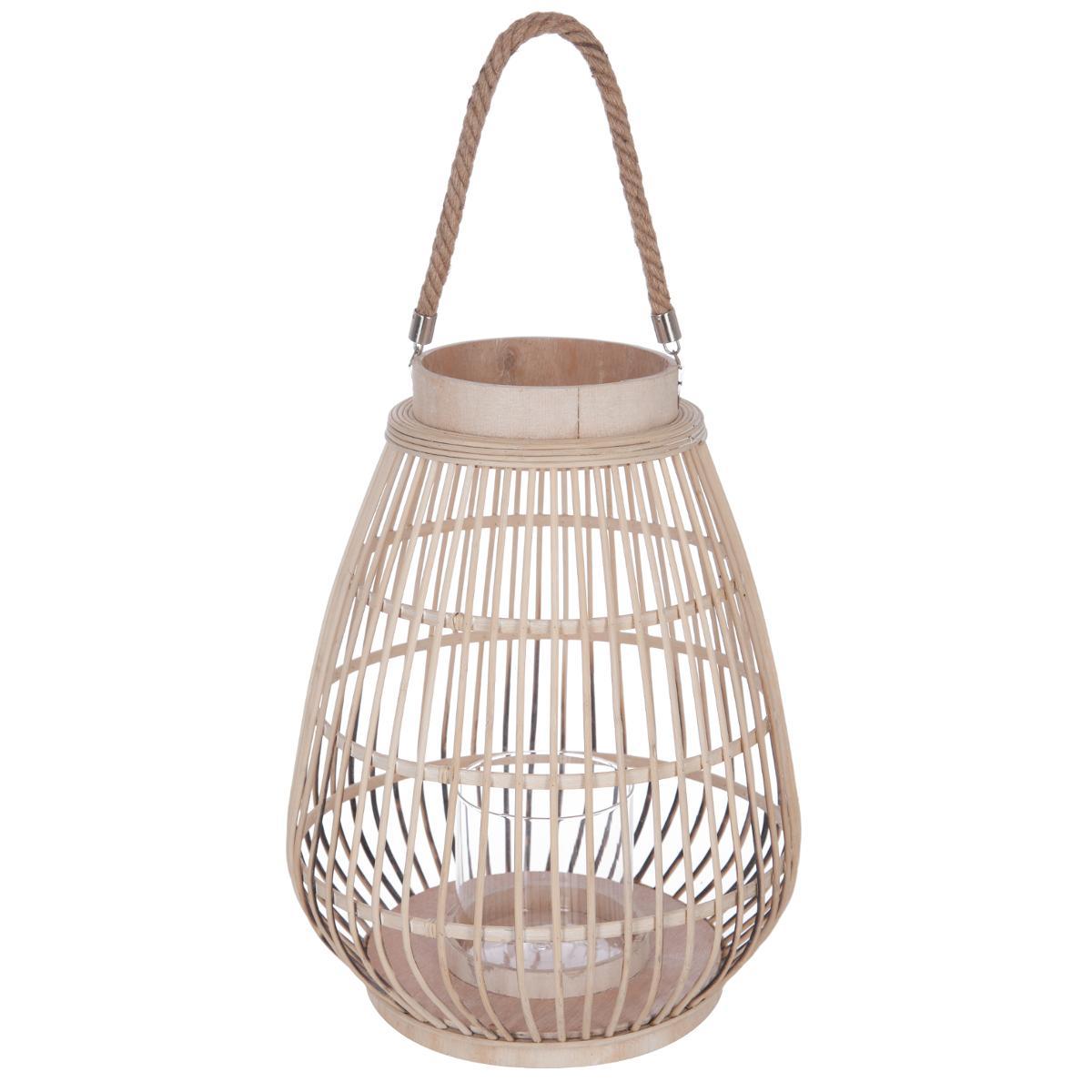 Lanterne rattan + verre D35XH44