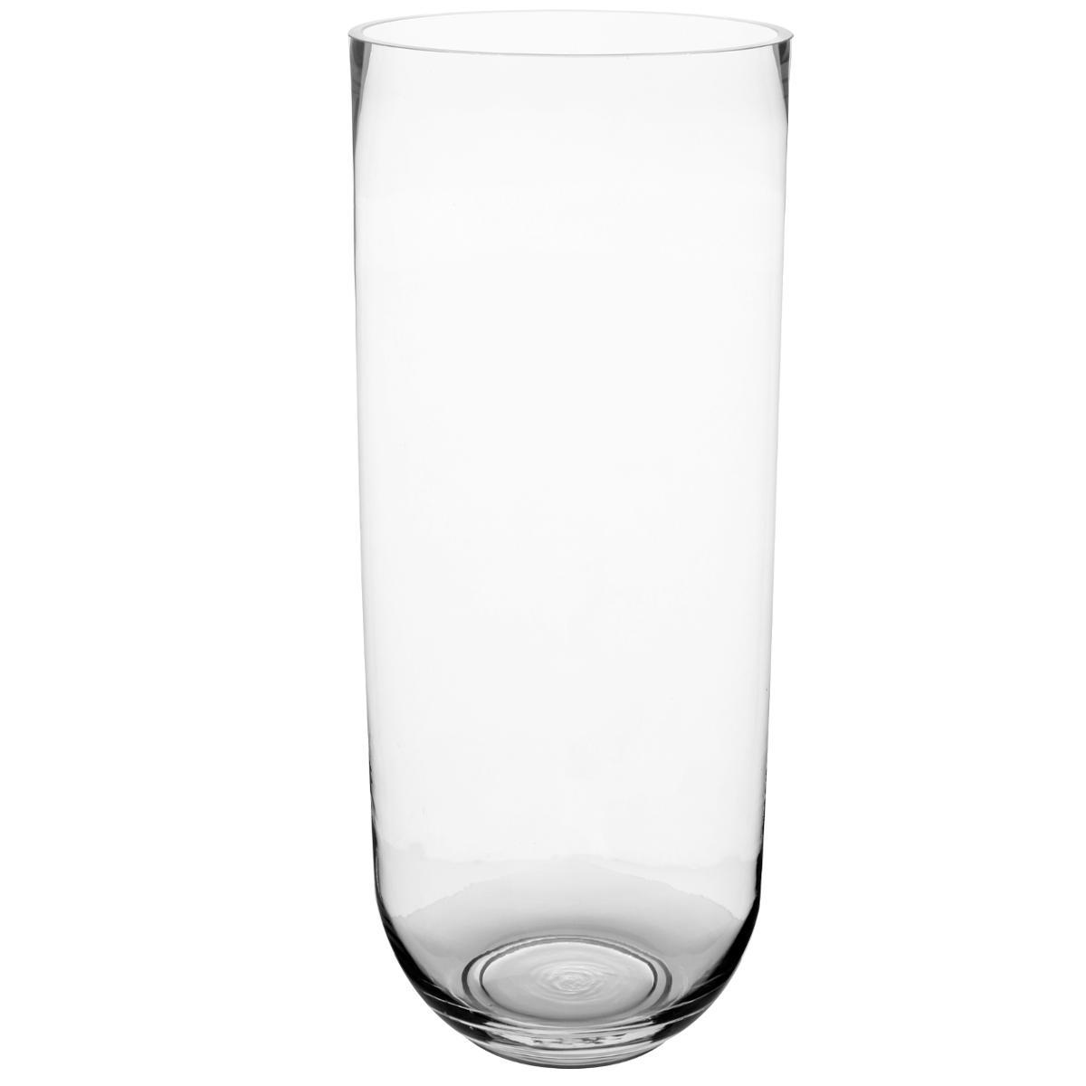 Deco verre vase cylindre Tour H 35 cm D 20 cm environ Transparent jodeco