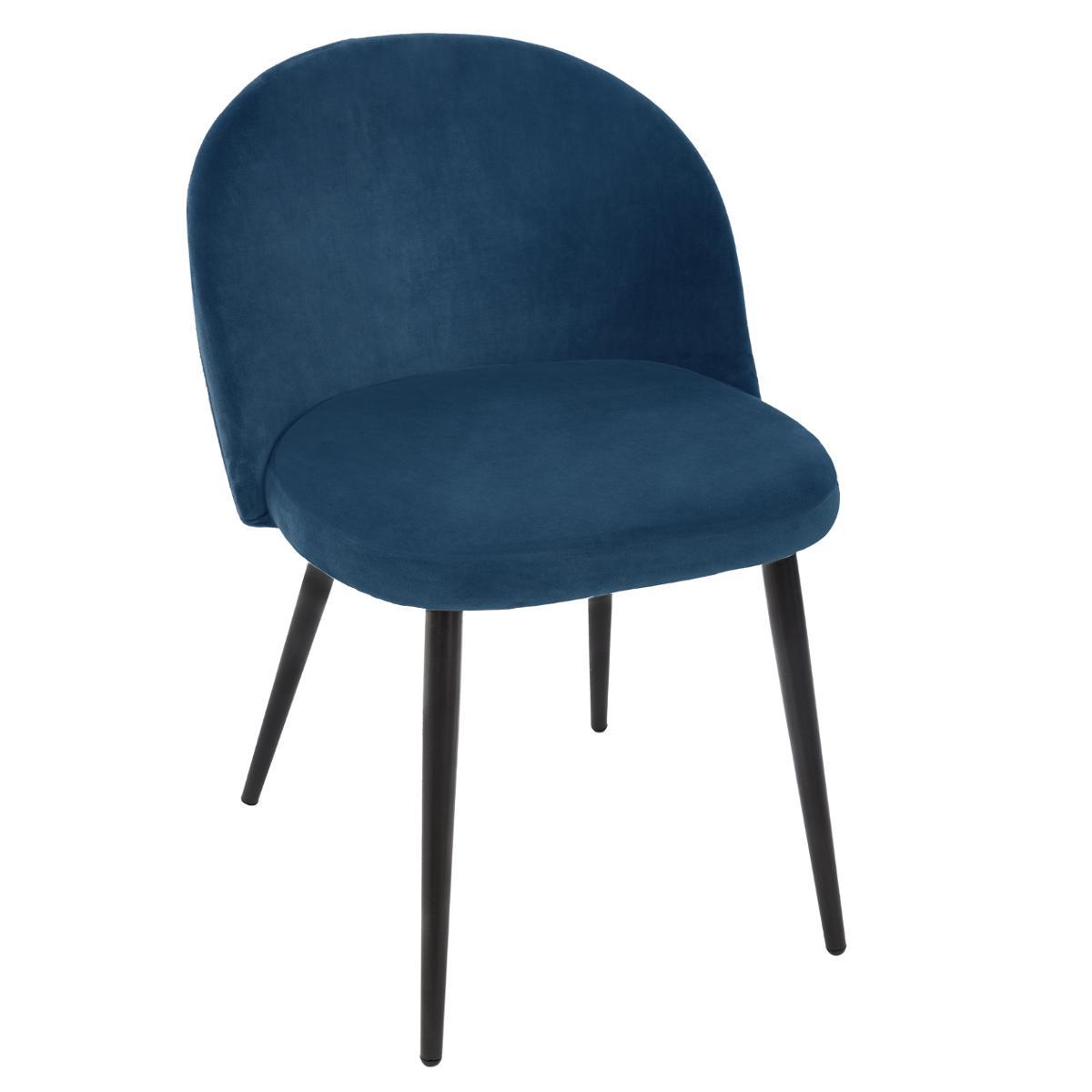 Chaise velours Nael Bleu - Atmosphera