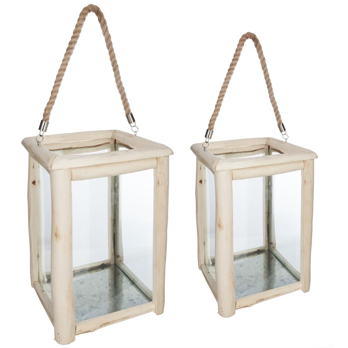 Lot de 2 lanternes bois Hiwa