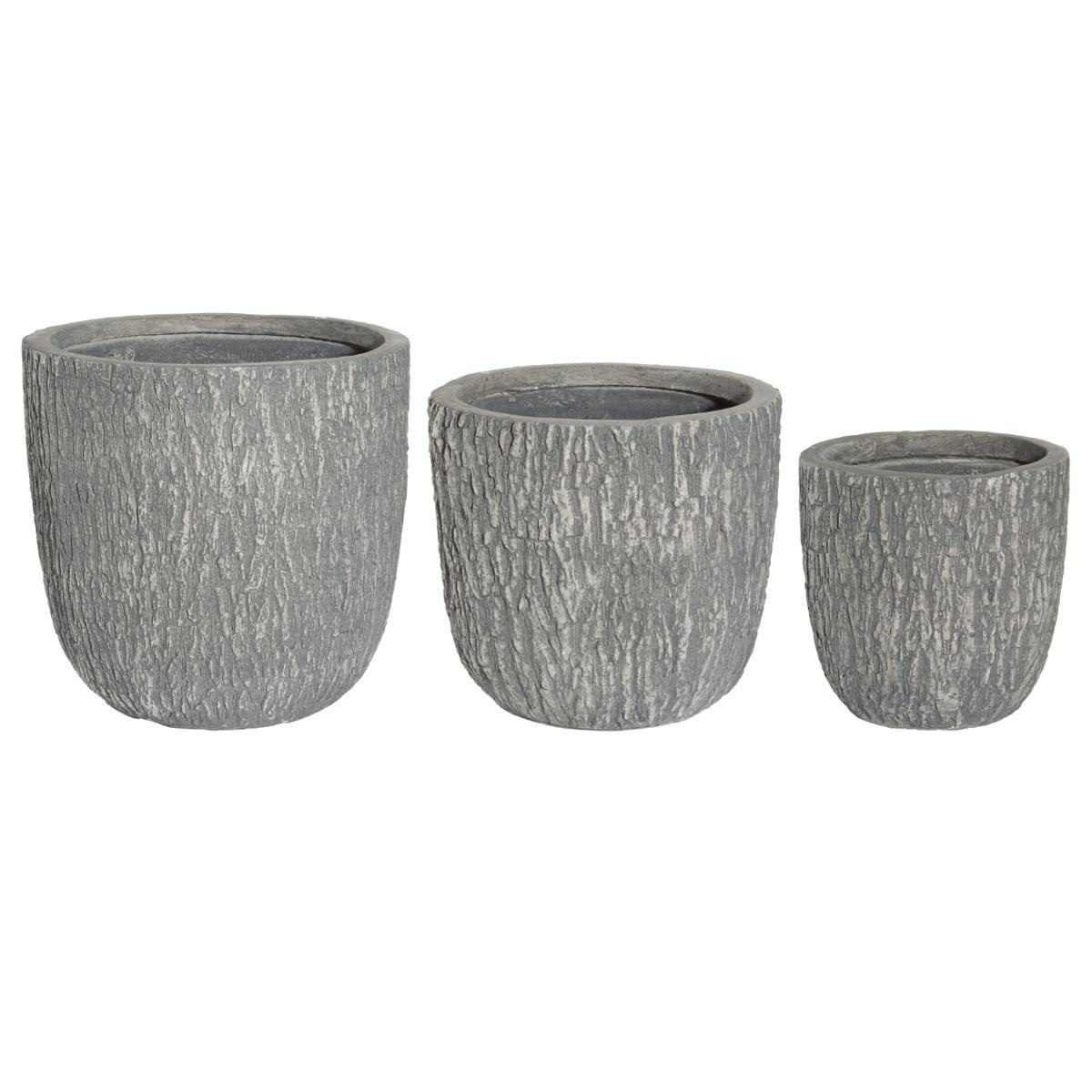 Lot de 3 pots effet bois gris H41