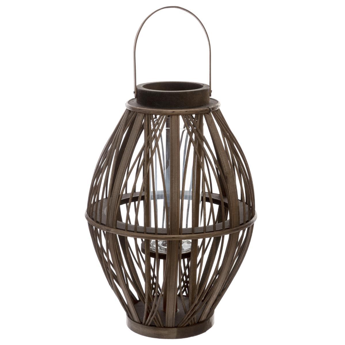 Lanterne Tressée Brun D. 27,5 x H. 39 cm