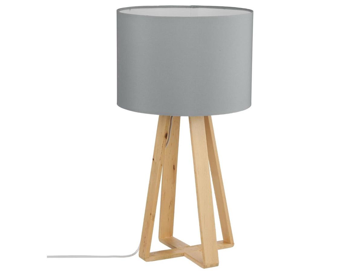 Lampe à poser avec pied en bois - Atmosphera