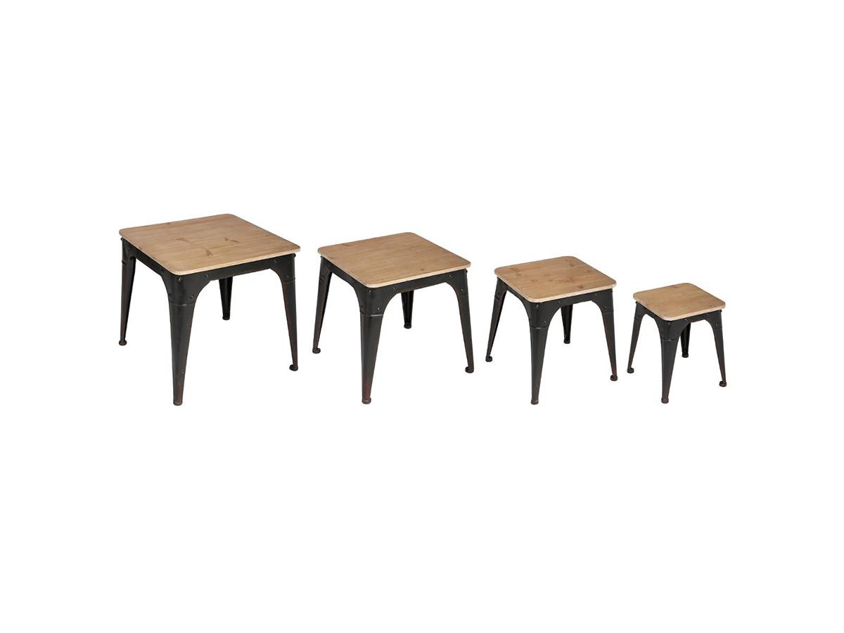 Lot de 4 tables d'appoint Torof Esprit Récup