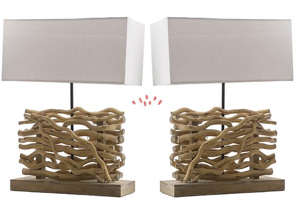 484430 (5) Lampe Poser Salon Bois Flotté Nautique Style Marin Mer Ocean  Blanc Ecume