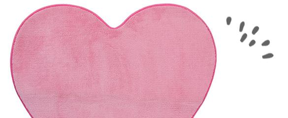 Tapis Enfant Fille Coeur Rose Microfibre