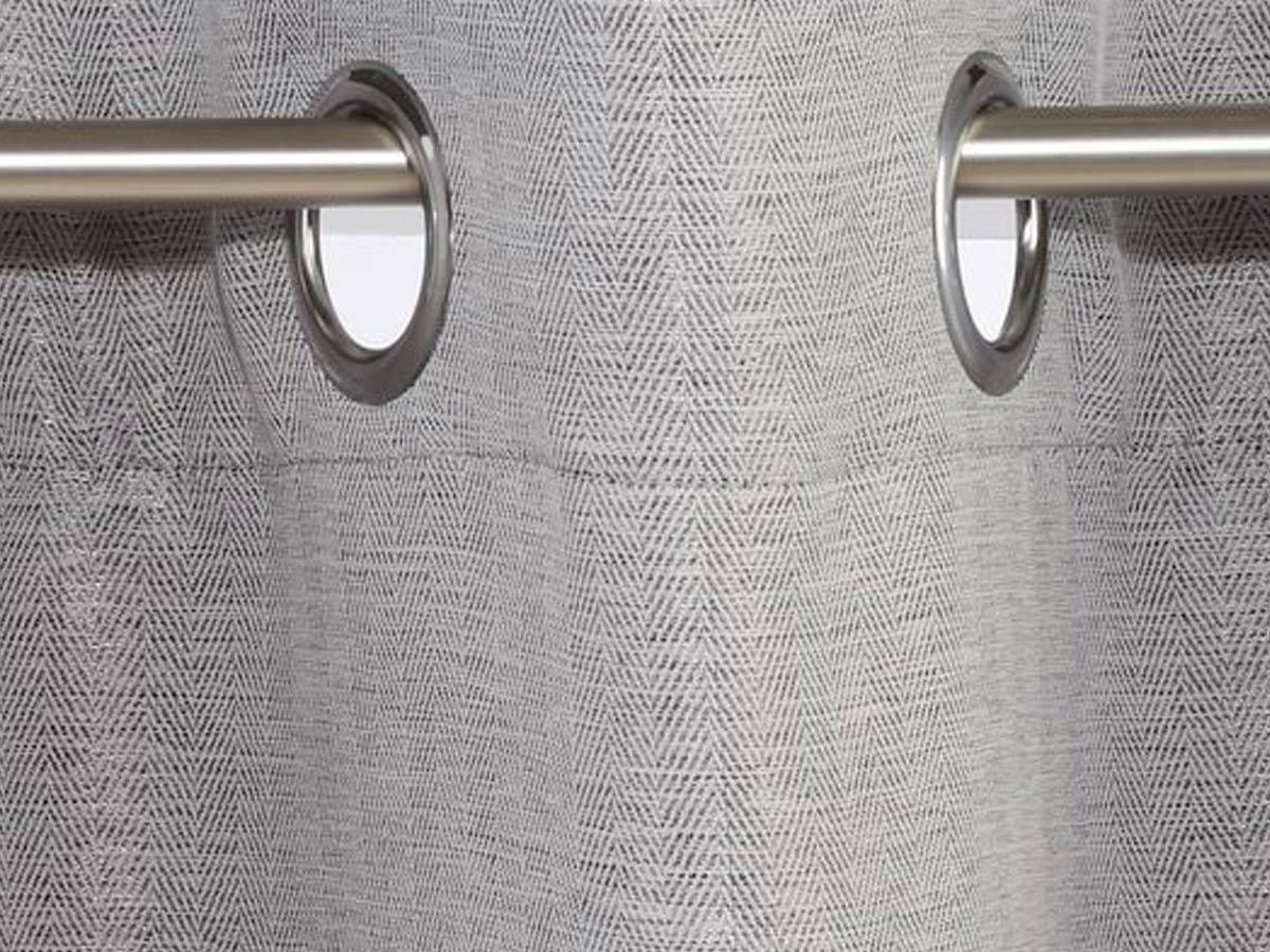 Rideau 140 x 260 cm motif chevron - gris foncé - Atmosphera