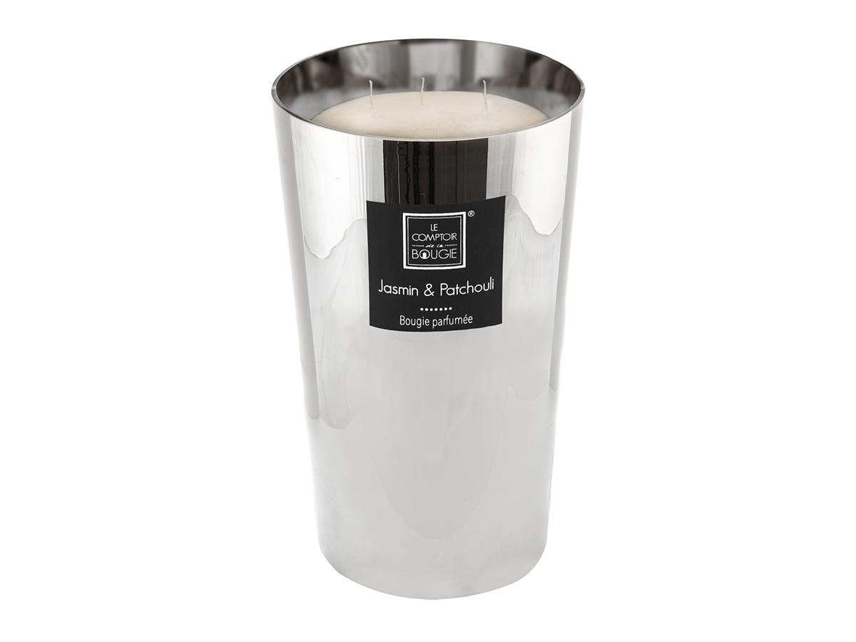 Bougie parfumée pot métallisé Ø 19 cm - Jasmin et Patchouli - Atmosphera