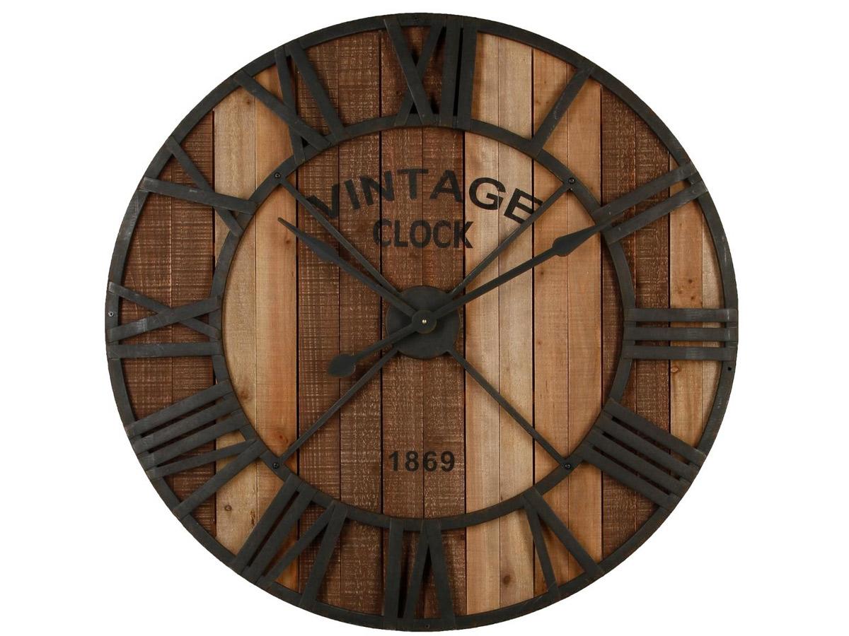 Horloge en métal et bois \\Broc Edition\\\